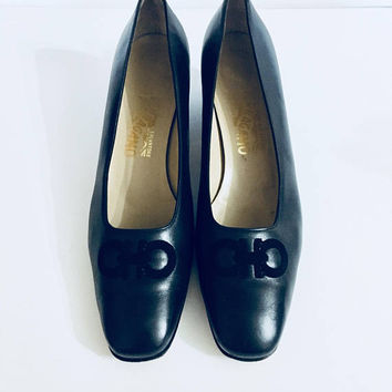 Classic Vintage Salvatore Ferragamo Heels, Navy Blue, 10.5, Antique Alchemy