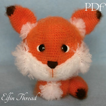 Elfin Thread - Fuzzy Fox  Amigurumi PDF Pattern (Fox Crochet PDF Pattern)