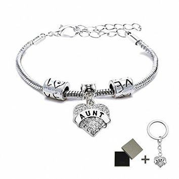 AUGUAU Family Bracelets Grandmother/Mother/Daughter/Aunt/Niece/Sister Crystal Heart Charm Pendant Hope/Blessed/Believe/Best Friend/My Girl Bracelet Cuff for Women