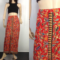 Vintage Batik Skirt Pleated Boho Hippie Skirt Skinny Narrow Silhouette Side Zipper Long Red Skirt L XL 34-35 waist feels like cotton