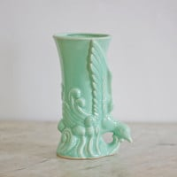 Celedon Green Glazed American Chinoiseri Vase | Light Green Vintage Morton Potteries Circa 1930s