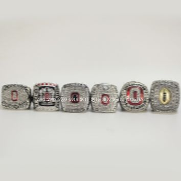 Men's 2002 2008 2009 2014 2014 2015 OHIO STATE BUCKEYES FOOTBALL BIG TEN CHAMPIONSHIP RING US SIZE 11, 6 RINGS AS A SET
