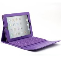 Dark Purple Leather Case w/ Built-in Bluetooth Keyboard for Apple Ipad 1/2/3