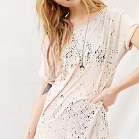 Totally Blown Destroyed High-Neck Tee - Urban Outfitters
