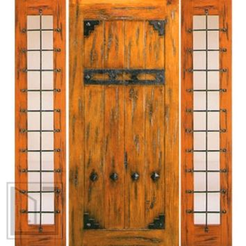 Prehung Door with Two Sidelites, Exterior, Knotty Alder, Clavos