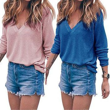 Women V neck Casual Knitted Sweater Tops Autumn Winter Ladies Long Sleeve Pullover Knitwear Top Clothes Black Pink Gray Blue