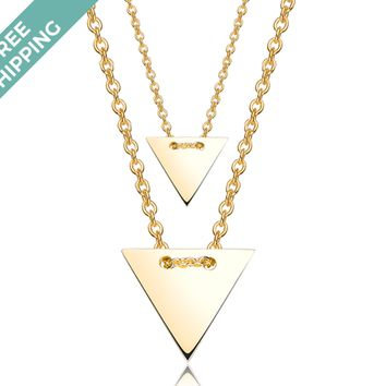 kiz&Co Sterling Silver Gold Plated Double Triangle Necklace