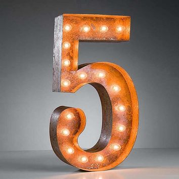 "24"" Number 5 (Five) Sign Vintage Marquee Lights"
