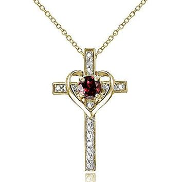 SHIP BY USPS: Sterling Silver Gem Cross Heart Necklace for Girls, Teens or Women