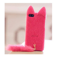 Cute hot pink fox tail kitty ear  fur fuzzy cat by sydesignshop