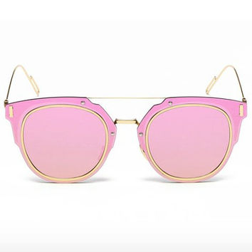 Retro Sunglasses Pink Mirror Frames with Gold Accents : Protects Against Harmful Sun Radiation, 90's Vintage Fashion