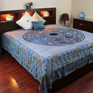 Celtic Wheel of Life Cotton Tapestry Bedspread Coverlet Blue Twin Full Queen