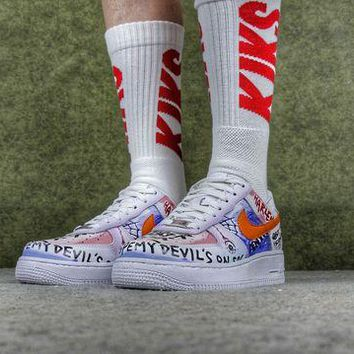 NOV9O2 VLONE x Nike Air Force 1 One Low Customs Pauly Running Sport Casual Shoes 923088-100 Sneakers
