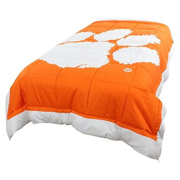 Clemson Tigers 2 Sided Tiger Logo Twin Comforter