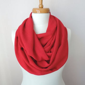 Infinity Circle Scarf, Red Fashion Scarves, Women's Fashion Accessories