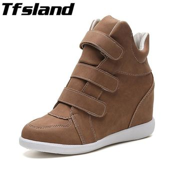 2018 Women Height Increasing Shoes Breathable Wedges Ankle Boots Trainers Sneakers Thick Sole Skateboarding Shoes Zapatos Mujer