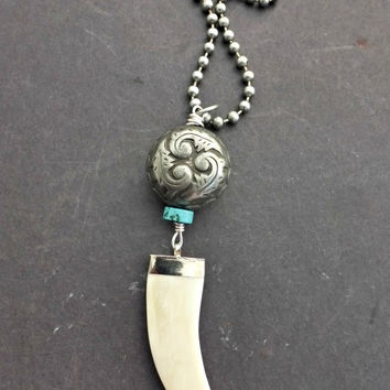 Bone tooth, turquoise stone, silver bead on gunmetal silver ball chain necklace. Boho, Bohemian.