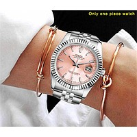 Rolex Fashion Women Men Casual Business Sport Movement Lovers Watch Pink