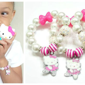 Hello Kitty Ballerina Bracelet, Girls Bracelets, Ballerina Bracelets, Pink Bracelets,Bow, Stretchy, Handmade, Custom Beaded Jewelry