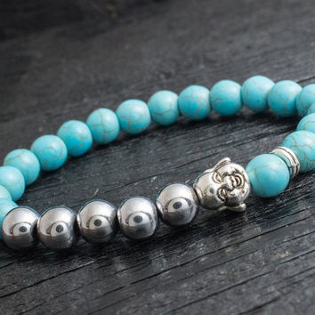 Turquoise  and silver plated hematite beaded laughing Buddha stretchy bracelet made to order yoga bracelet
