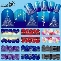 1pcs Nail Art Christmas Water Transfer Tips Snowflake Blue Full Wraps Patterns Temporary Sticker Nails DIY Tool BN205-216