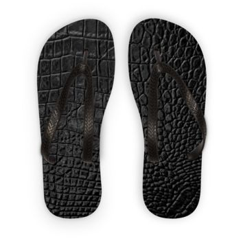 Black Alligator Scale skin Flip Flops