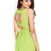 Pastel Green Pleated Dress With Heart-Shaped Back Cut Out