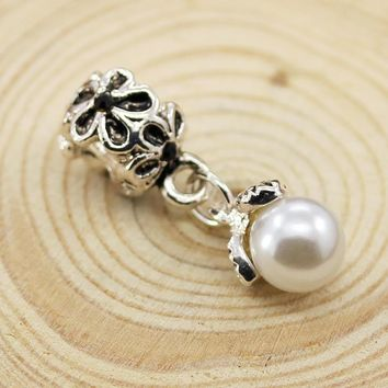 New Silver Plated Bead Charm Antique Flower with simulated Pearl Pendant Beads Fit Pan