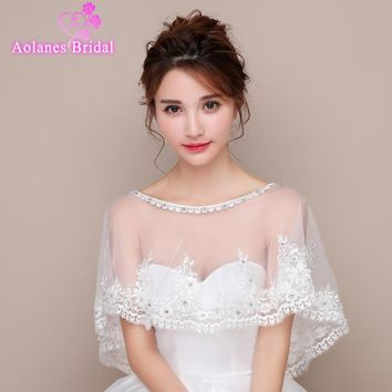 2017 New Design  Scoop Neck Off White Ivory Summer Bridal Wedding Jacket Bolero Tulle Lace Crystals Wedding Shrug Cape Shawl