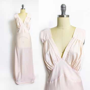 Vintage 1940s Slip - Pale Pink Rayon Satin Nylon Full Length Deco 40s -  Large L