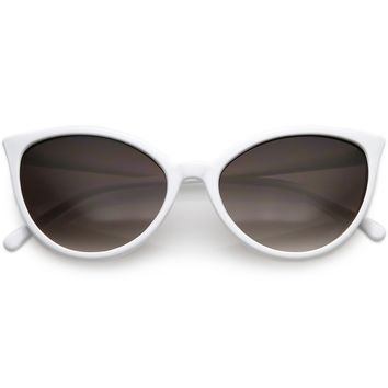Unique Cat Eye Sunglasses Slim Frame Round Neutral Colored Gradient Lens 54mm