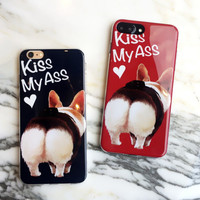 Cute Cartoon Pet Dog Soft Silicone Cover For iphone 7 Case Funny Letters Kiss My Ass Bright Phone Cases For iPhone 7 7Plus 6 6s -0405