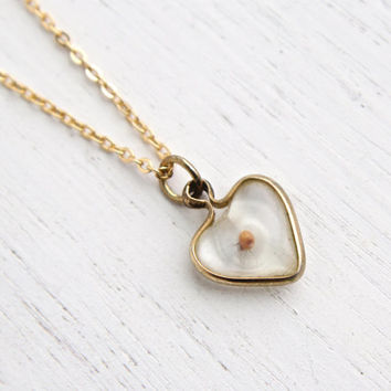 Vintage Mustard Seed Heart Pendant Necklace - 1960s Gold Tone Clear Lucite Costume Jewelry / Faith & Change