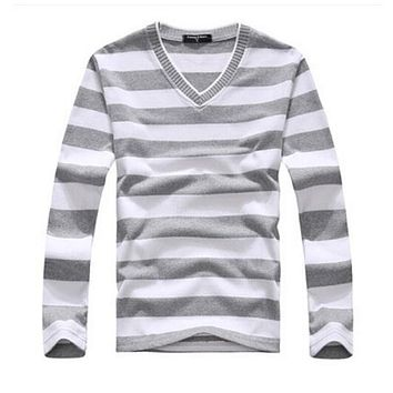 EAS New arrival 2016 men's long-sleeved cotton stripes sweater fashion and hot pullover men brand new