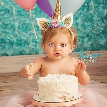 Unicorn Headband Hair Clip Newborn Unicorn Photo Props Girl Birthday Outfit