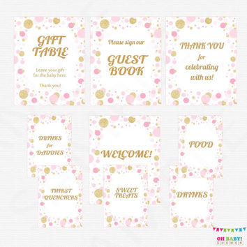 Pink and Gold Baby Shower Table Signs, 9 Baby Shower Signs, Printable Baby Shower Signs, Welcome, Guest Book, Drinks for Daddies CB0003-pg
