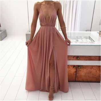 Split Maxi Dress Dark Pink Deep V Neck Evening Prom Dress
