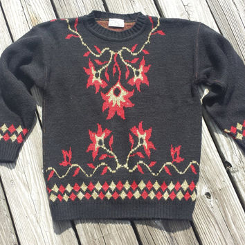 Vintage Women's Sweater - UGLY Sweater - Black Sweater - USA Made - Size S / M