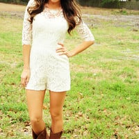 Sweet Southern Belle Romper: Ivory