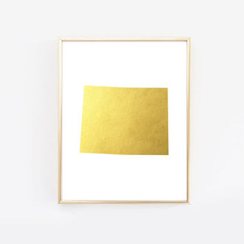 Wyoming State Gold Foil Art Print