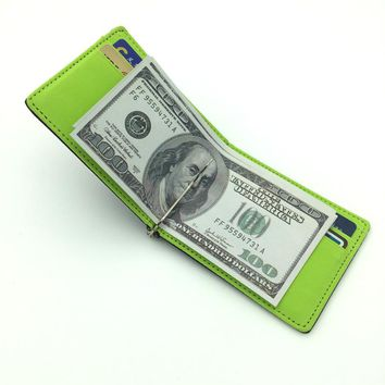 Men's leather credit card wallet Slim Money Clip Simple Design Brand New Men Bifold Wallets Green Brown Gray