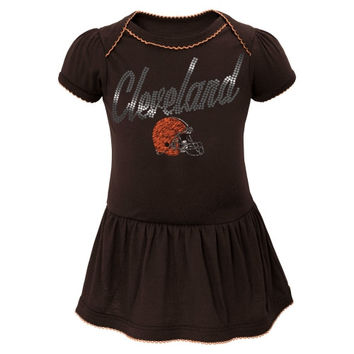 Cleveland Browns Newborn Girls Dazzle Creeper with Attached Skirt - Brown
