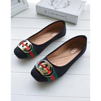 GUCCI Hot Sale Fashion Women Casual Red Green Stripe GG Metal Buckle Flats Boat Shoes Single Shoes Black I12155-64