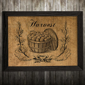 Vegetable art Potatoe poster Burlap print Kitchen print BLP920
