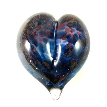 Handmade Art Glass Heart Paperweight, Blue and Pink, Mother's Day Gift