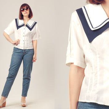 80s White Nautical Shirt / Sailor Collar Blouse / White and Navy Summer Shirt