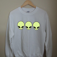 Three Green Alien Buddies White Teenager Graphic Crewneck Sweatshirt