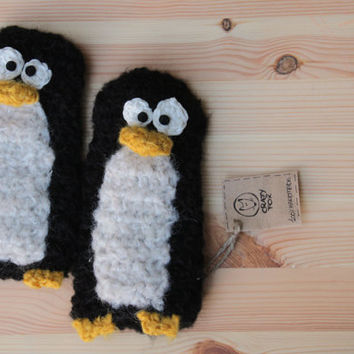 Penguins Fingerless Gloves - very soft crochet animal hand warmers for adult and children, short gloves, wrist warmer,  hand warmers