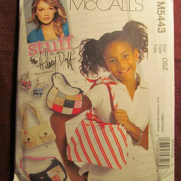 SALE Uncut McCall's Sewing Pattern, 5443! Hilary Duff Designs-Stuff/Fashion Accessories/Handbags/Purses/Shoulder Bags/Girl Purses/Accessorie