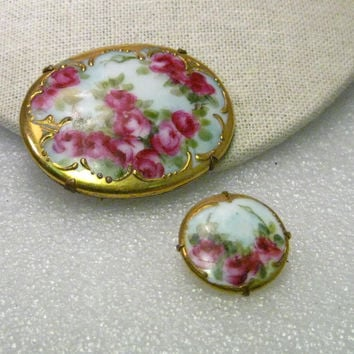 """True Victorian Pair of Hand Painted  Gold Trimmed Rose Porcelain Floral Brooch, 2"""" and 1"""""""